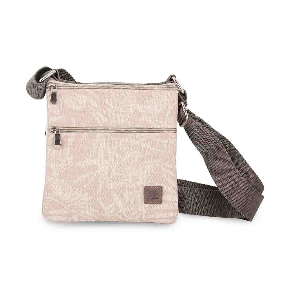 Twin side waxedcanvas floral print travel pouch/sling bag