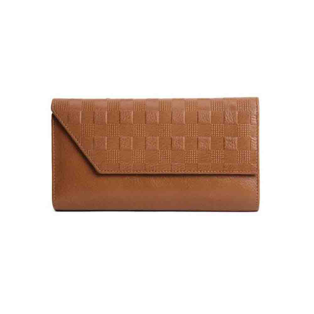 Ladies Wallet-Checkered Leather Ladies Clutch Wallet