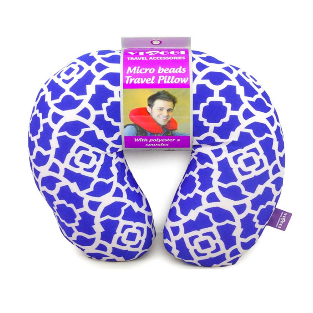 Viaggi Microbead U Shape Travel Neck Pillow - Trellis Blue