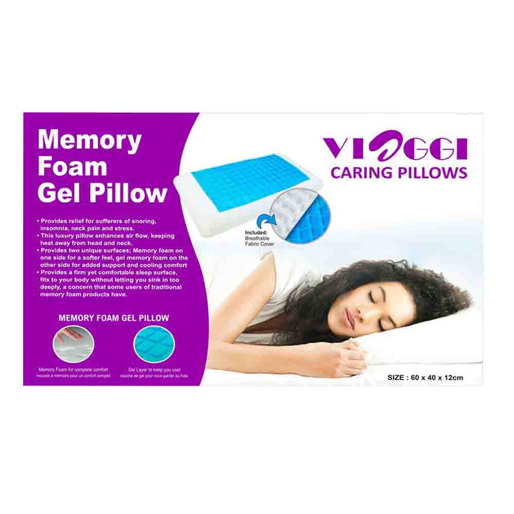 Viaggi Memory Foam Sleeping Pillow With Cooling Gel - White