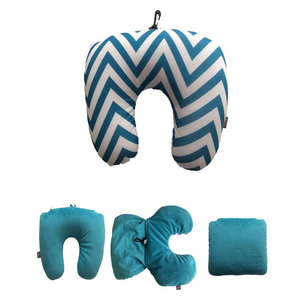 Viaggi 2 In 1 U Shape Microbeads Convertible Travel Neck Pillow - Blue