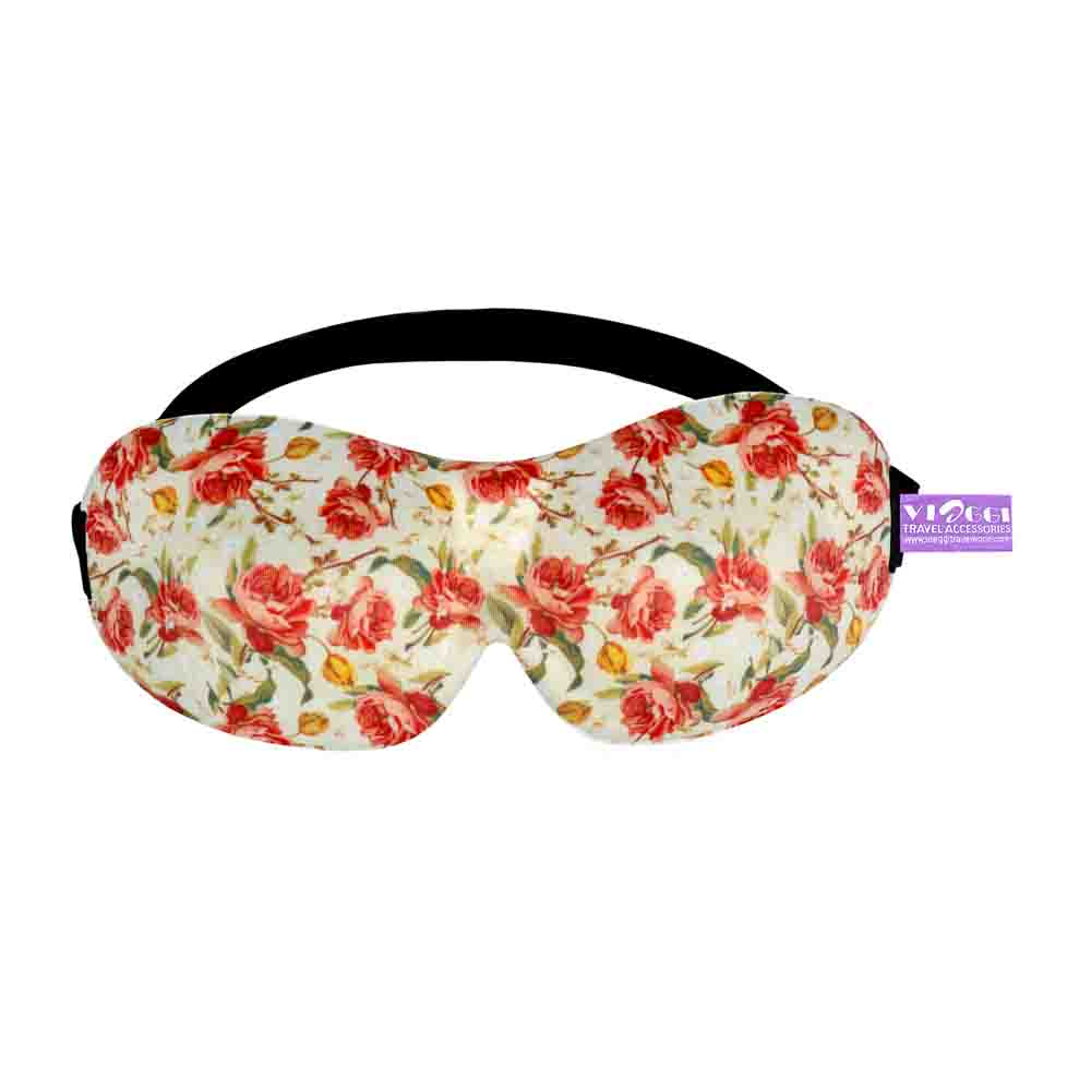 Travel Accessories-Viaggi Printed Sleeping Travel Eye Mask - Yellow