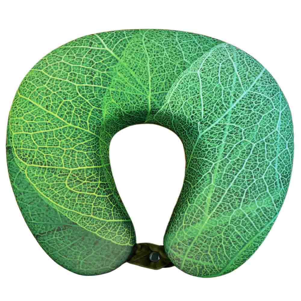 Viaggi U Shape Memory Foam Printed Travel Neck Pillow - Leaf Green