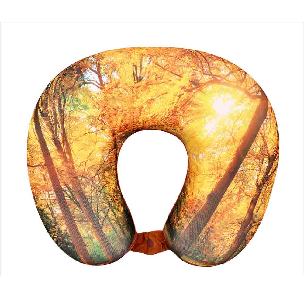 Viaggi U Shape Memory Foam Printed Travel Neck Pillow - Yellow Forest
