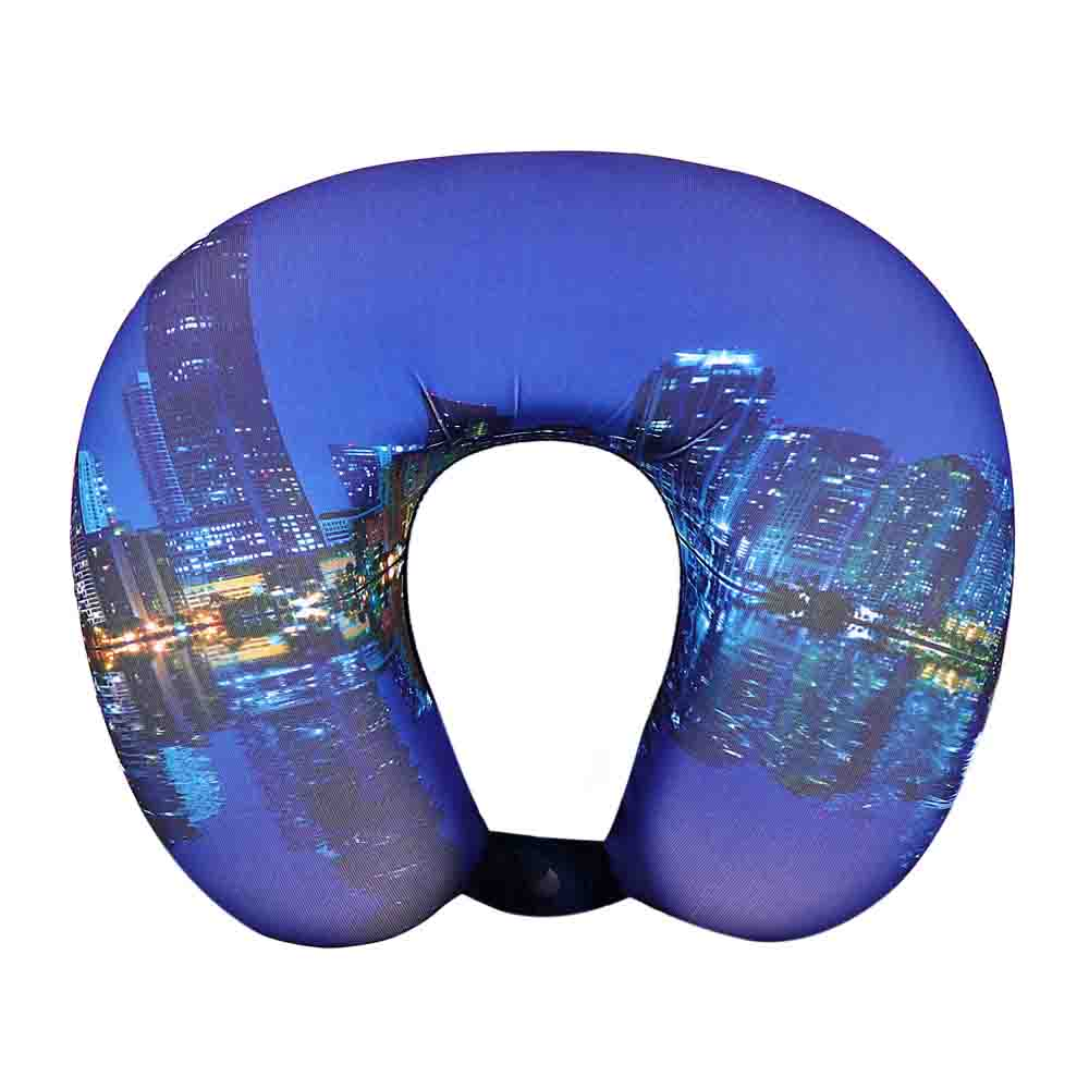 Viaggi U Shape Memory Foam Printed Travel Neck Pillow - City Blue