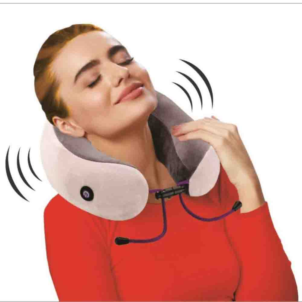Viaggi U Shape Vibrating Memory Foam Neck Massage Pillow - Coffee Grey