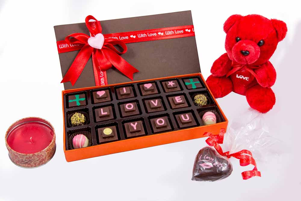 Velvet Fine Chocolate's I Love You Box with Teddy and Candle