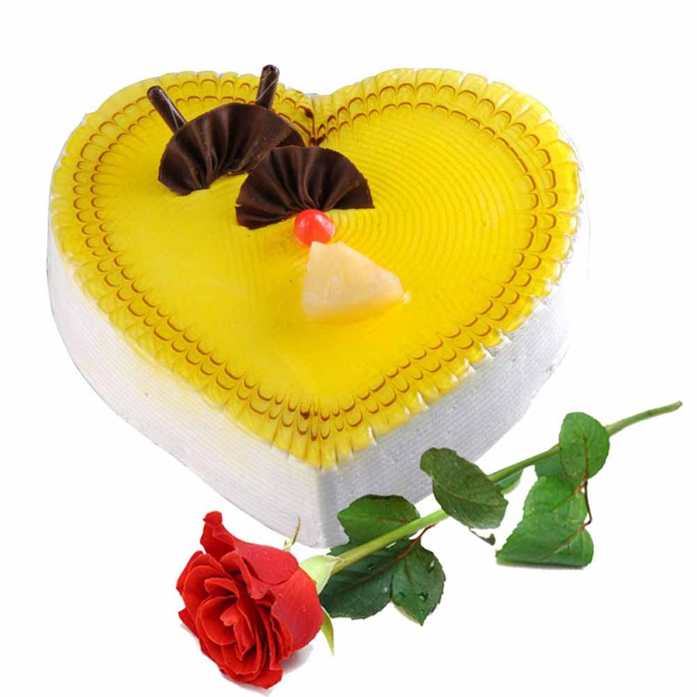 Valentine Flowers-Single Rose with Heart Shape Pineapple Cake