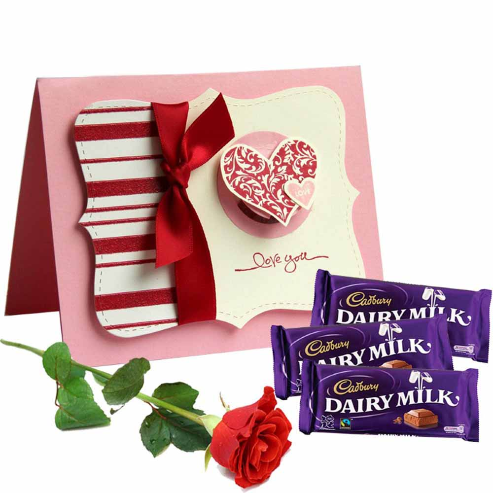 Dairy Milk Chocolate with Love You Card and Single Red Rose