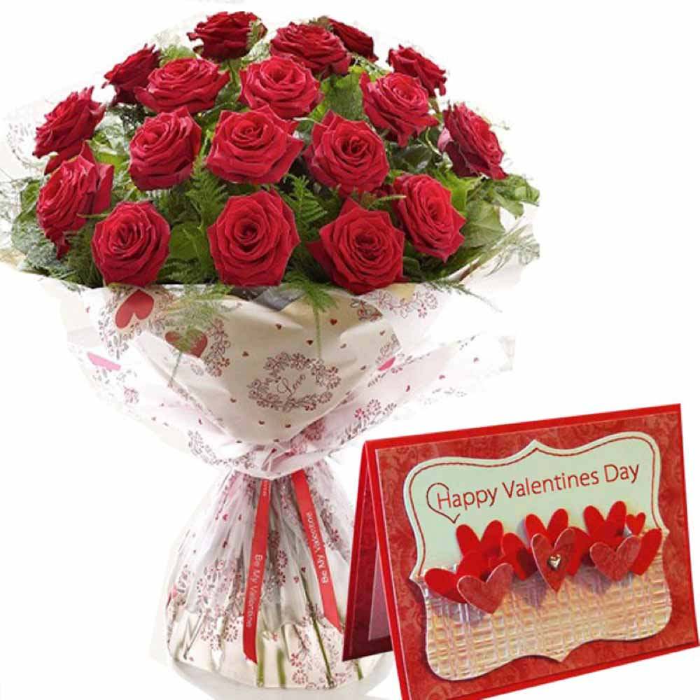 Valentine Flowers-Valentine Greeting Card and Red Roses Bouquet