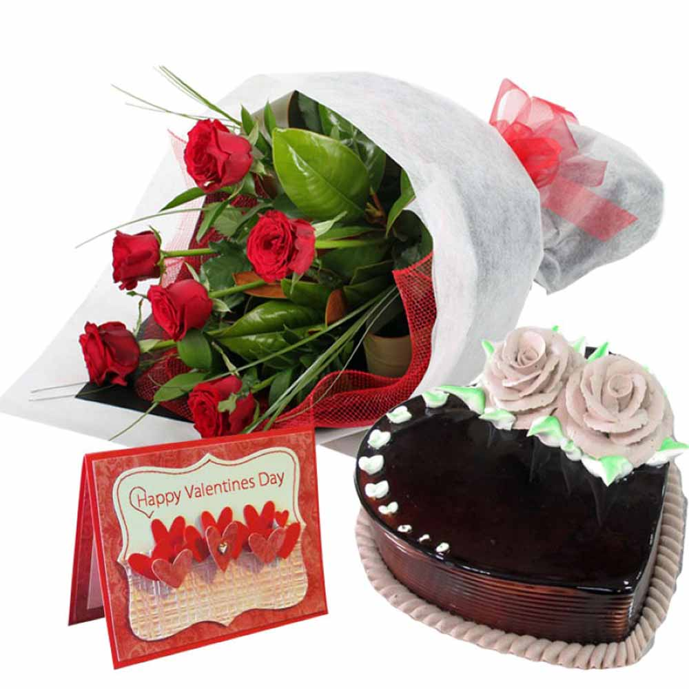Valentine Flowers-Heart Shape Chocolate Cake with Roses Bouquet and Valentine Card
