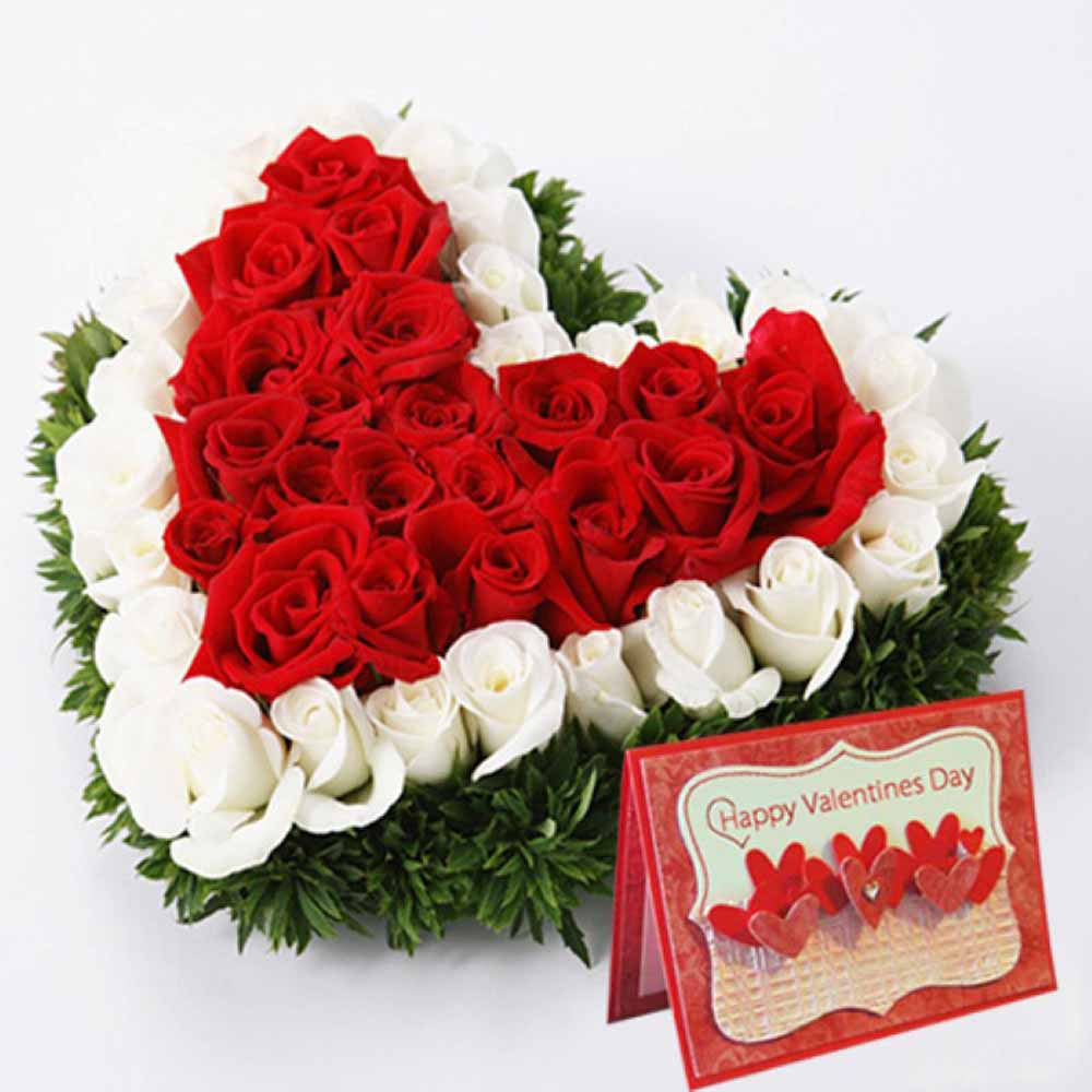 Valentine Flowers-Red and White Roses Heart with Valentine Greeting Card
