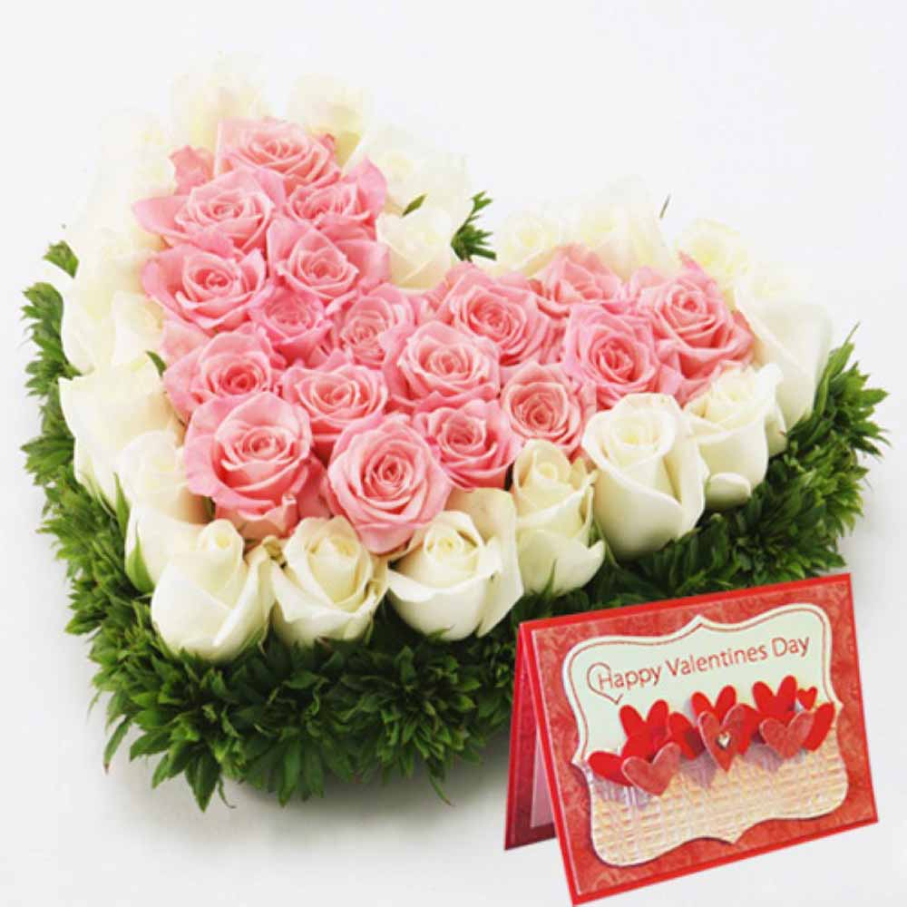 Pink And White Roses Heart With Valentine Greeting Card India