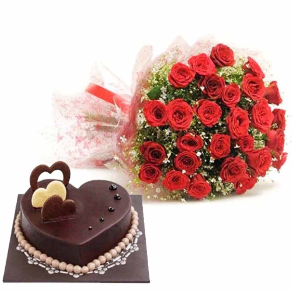 Valentine Flowers-Love Treasure Surprise of Heart Shape Chocolate Truffle Cake With Red Roses