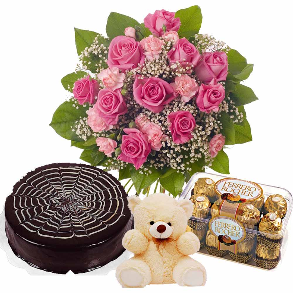 Valentine Flowers-Pink Valentine Flame Hamper Including Chocolate Cake with Teddy and Ferrero Rocher Chocolates Box