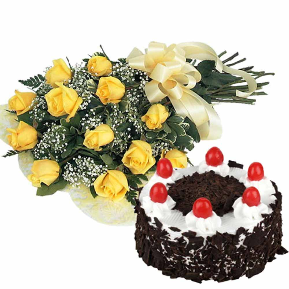 Valentine Flowers-Twelve Yellow Roses Stem with Half Kg Black Forest Cake For Your Darling