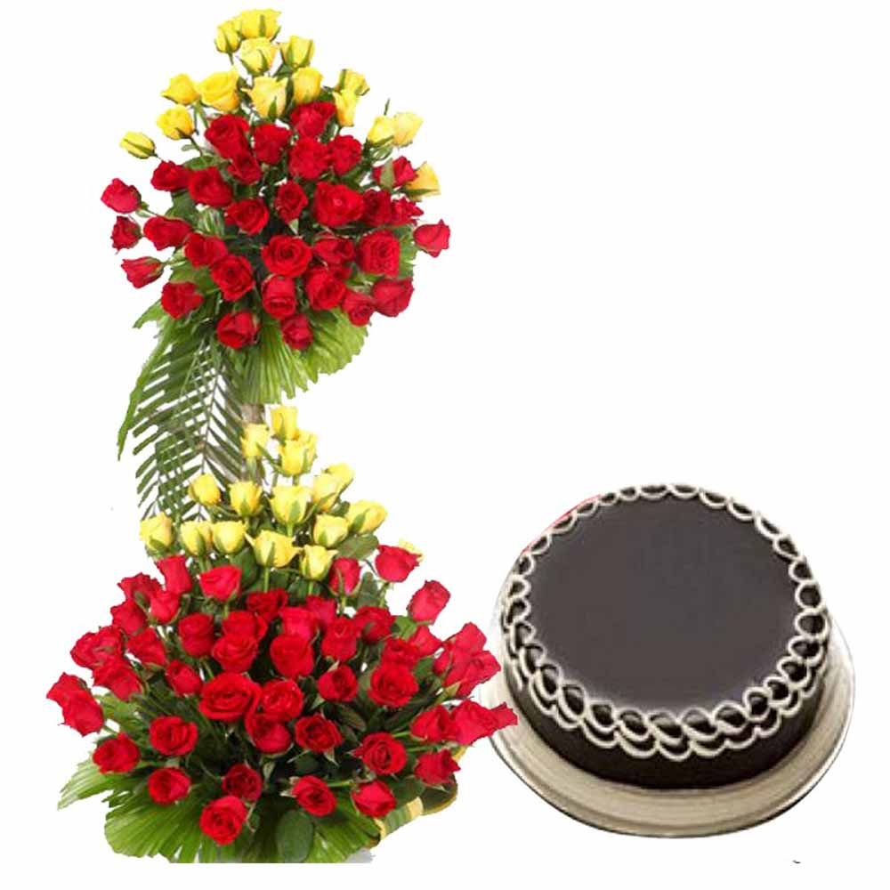 Valentine Flowers-Express Your Love With Exotic Hundred Roses Arrangement and Dark Chocolate Cake