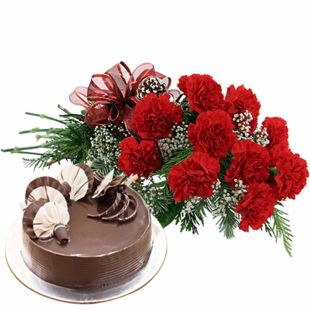 Valentine Flowers-Valentine Gift Touch With Ten Red Carnations Bunch and Eggless Chocolate Cake