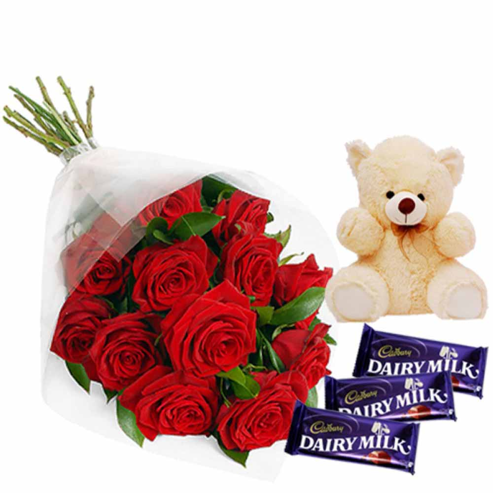 Valentine Flowers-Favorite Valentine Roses Hamper Including Teddy and Dairymilk Chocolates
