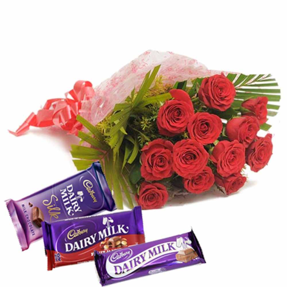 Valentine Flowers-Valentine Hamper for your King Including Dozen Roses With Dairymilk Chocolate Bars