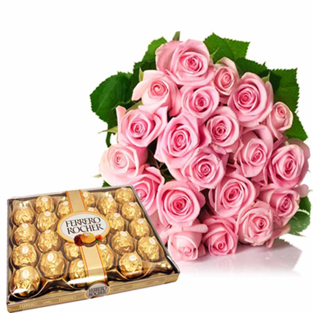 Valentine Flowers-24 Pcs Ferrero Rocher With Pink Roses Bouquet