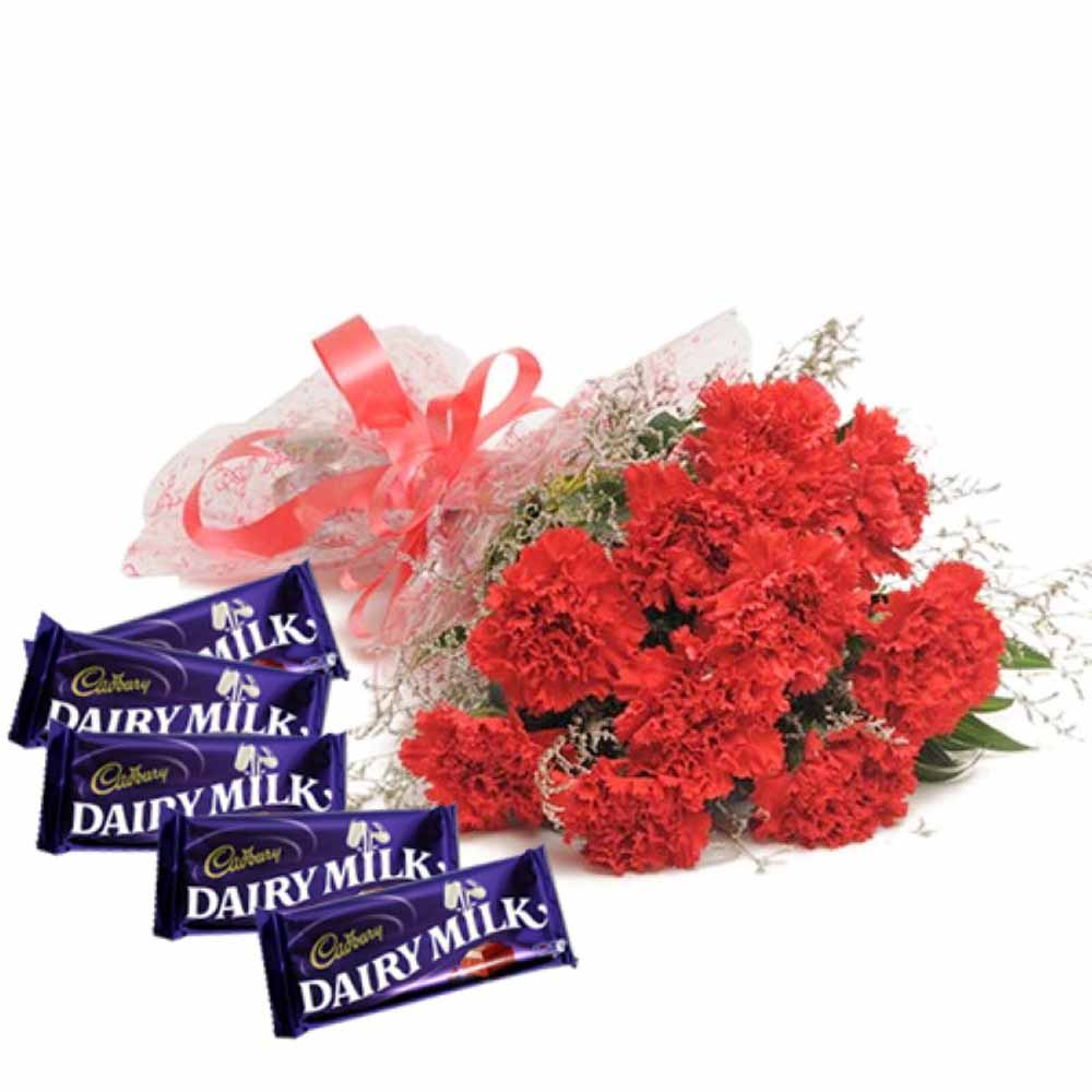 Valentine Flowers-Red Color Carnations Bouquet With Dairymilk Chocolates