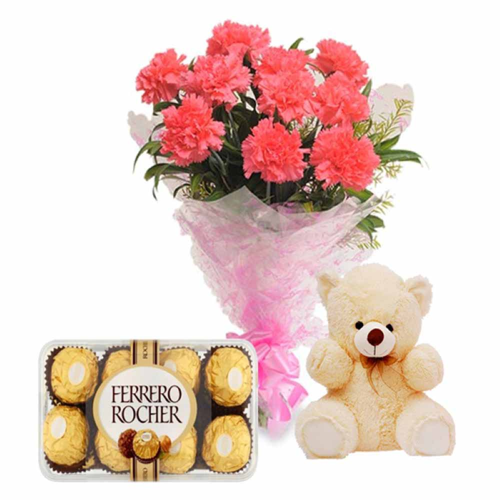 Valentine Flowers-Teddy Love And Perfect Pink Carnations With 16 Pcs Ferrero Rocher Chocolates