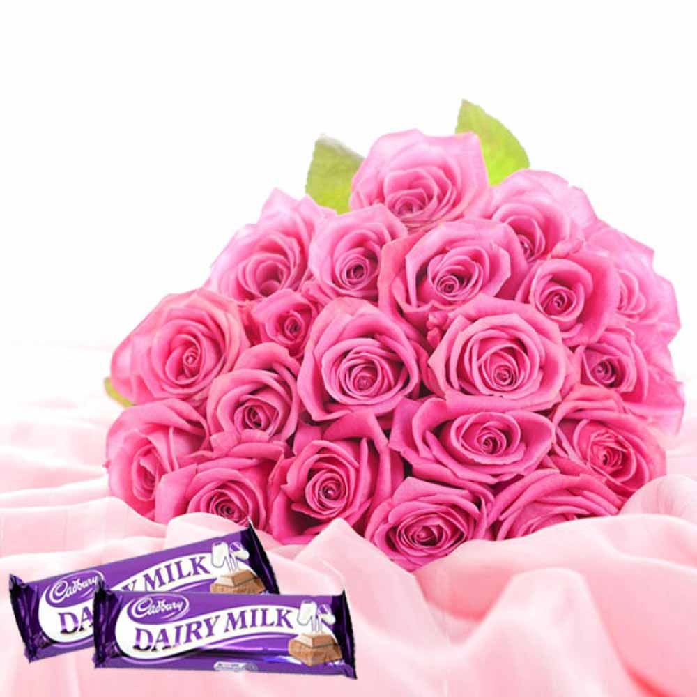 Valentine Flowers-Pampering Love Token With Twenty Two Pink Roses And Dairymilk Chocolates