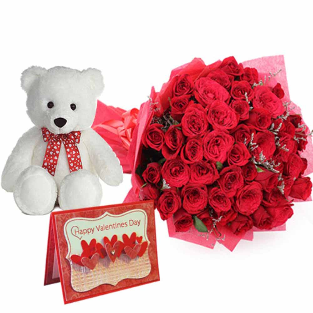 Valentine Flowers-Bouquet of Roses and Cute Teddy with Valentine Greening Card