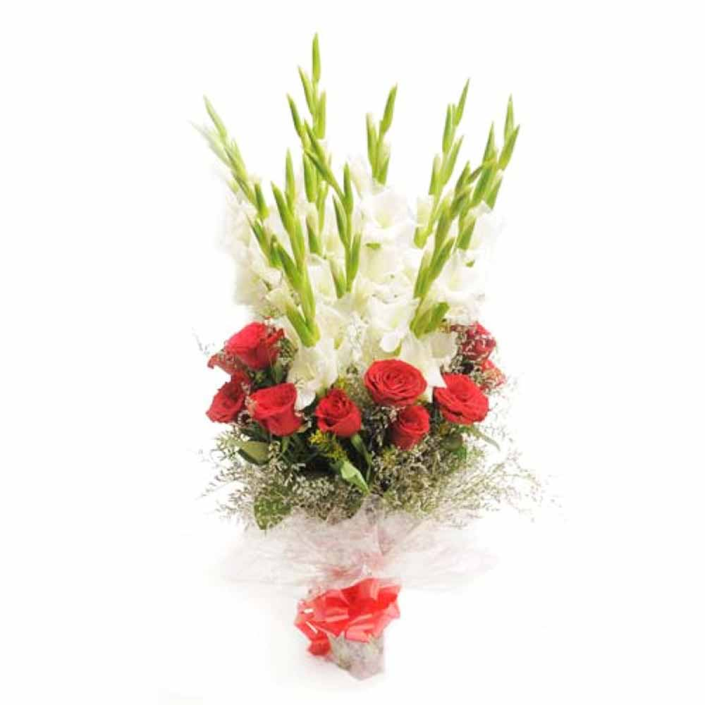 Valentine Flowers-Bouquet of Red and White Flowers for Valentine