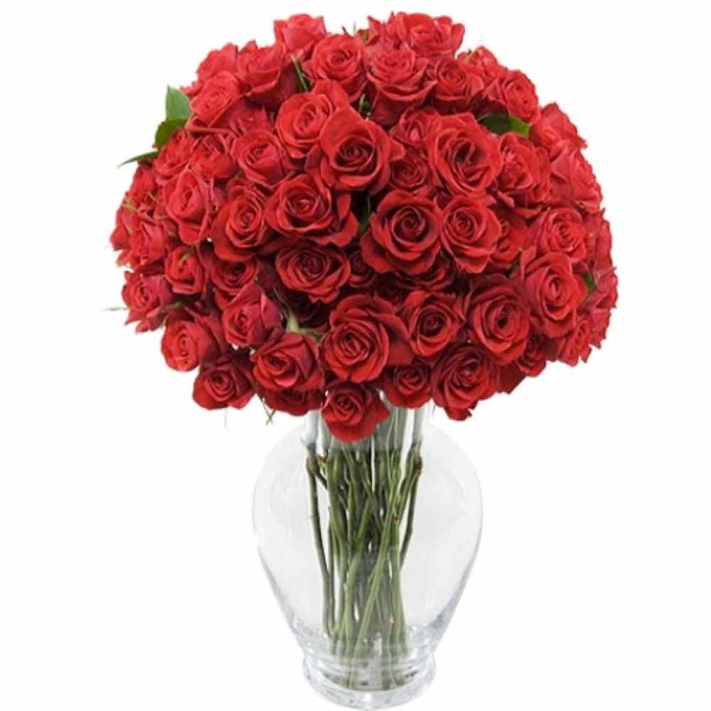Valentine Flowers-Valentine Gifts of 75 Red Roses In Vase