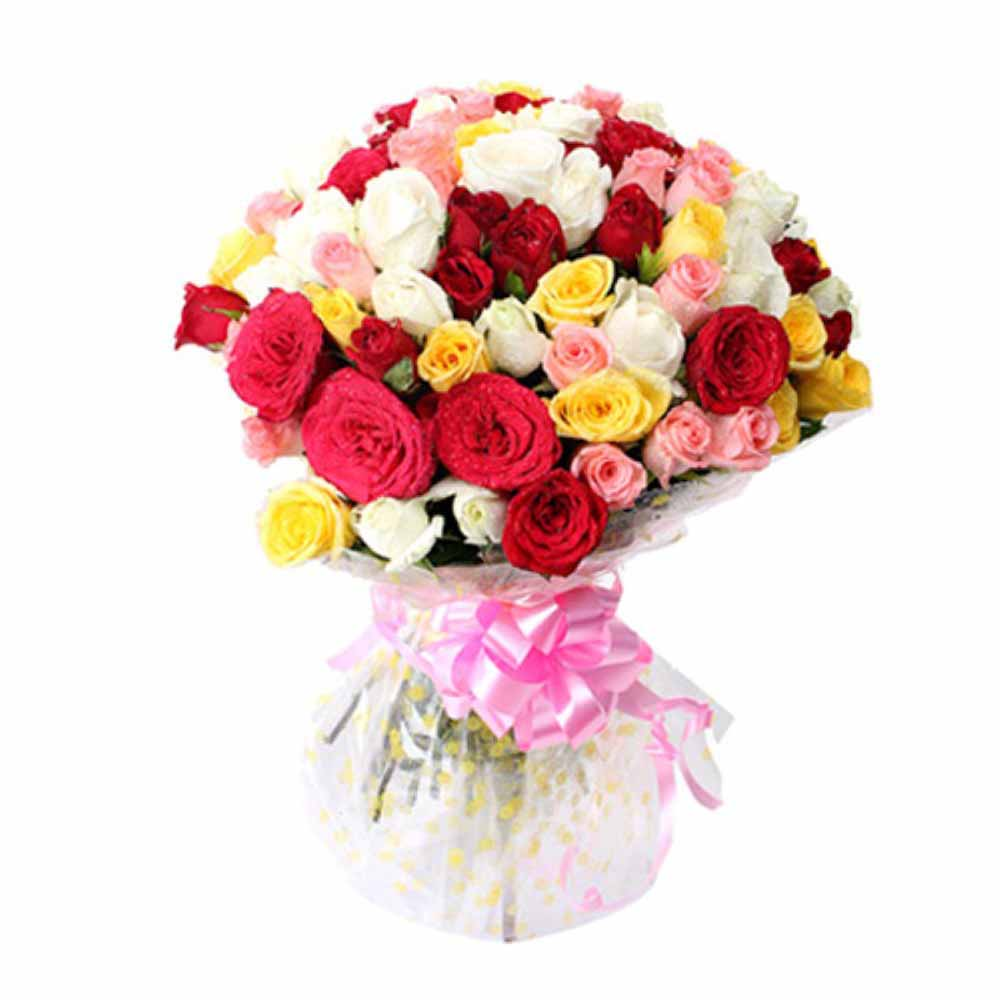 Valentine Flowers-Bunch of 50 Mix Rose For Valentine Day