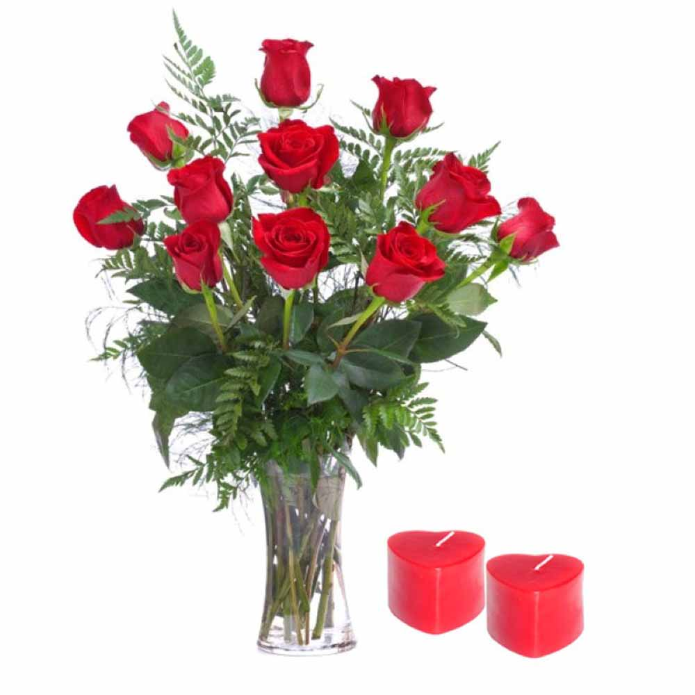 Dozen Red Roses with Candles For Valentine Day