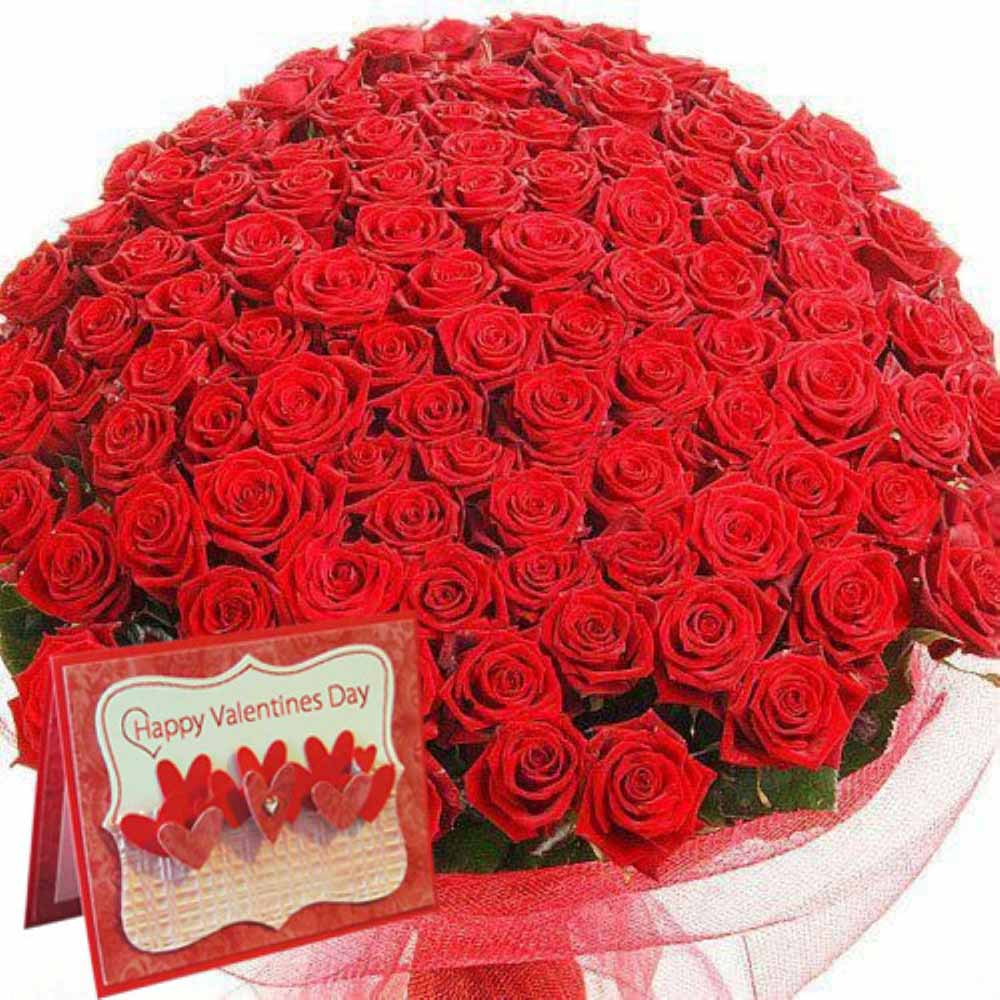 Valentine Flowers-Valentine Day Special of Hundred Red Roses with Greeting Card