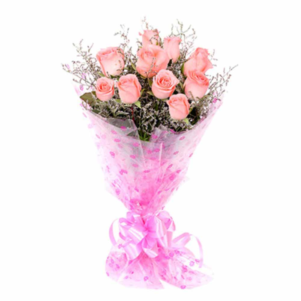 Valentine Flowers-Bouquet of Ten Pink Roses For Valentine Day
