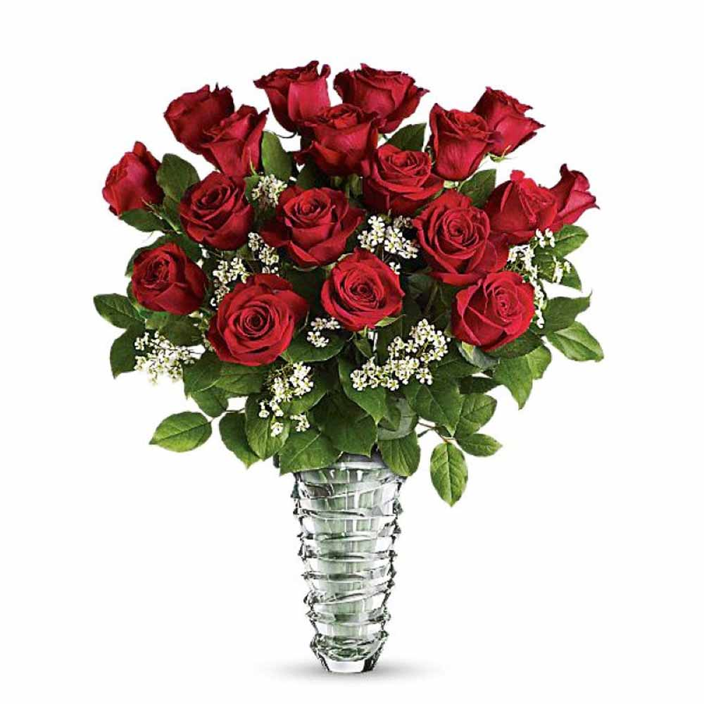 Valentine Flowers-Valentine Vase Arrangement of 18 Romantic Red Roses