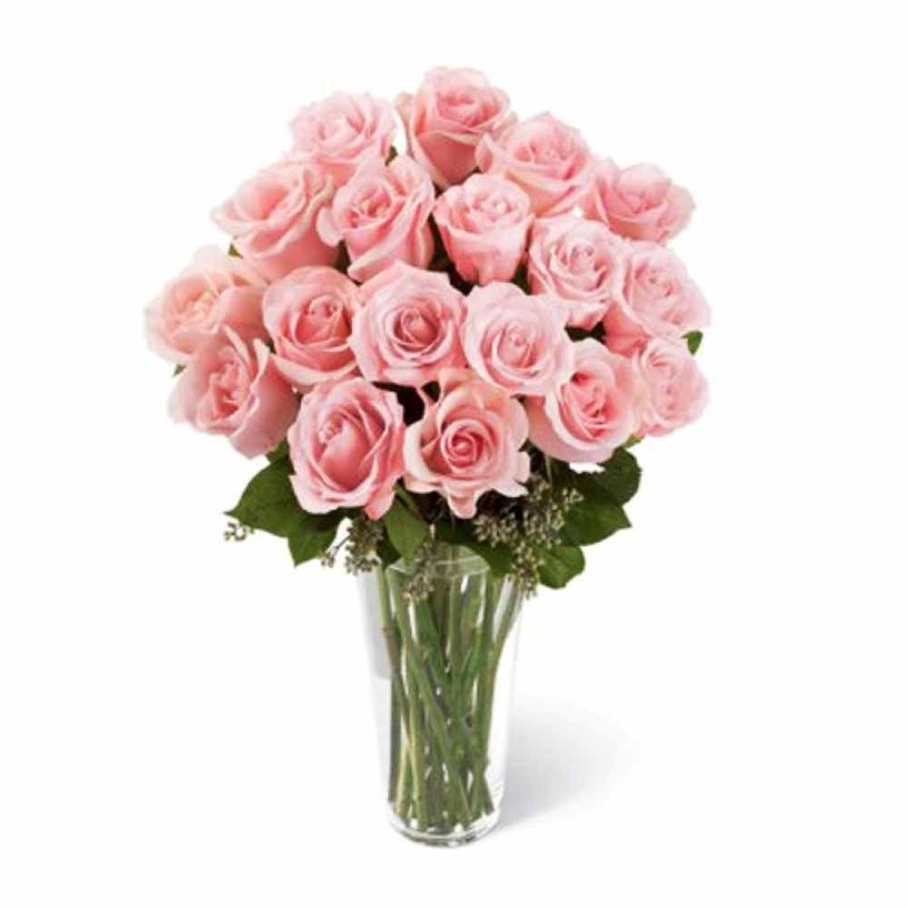 Valentine Flowers-Pink Roses Vase For Love One