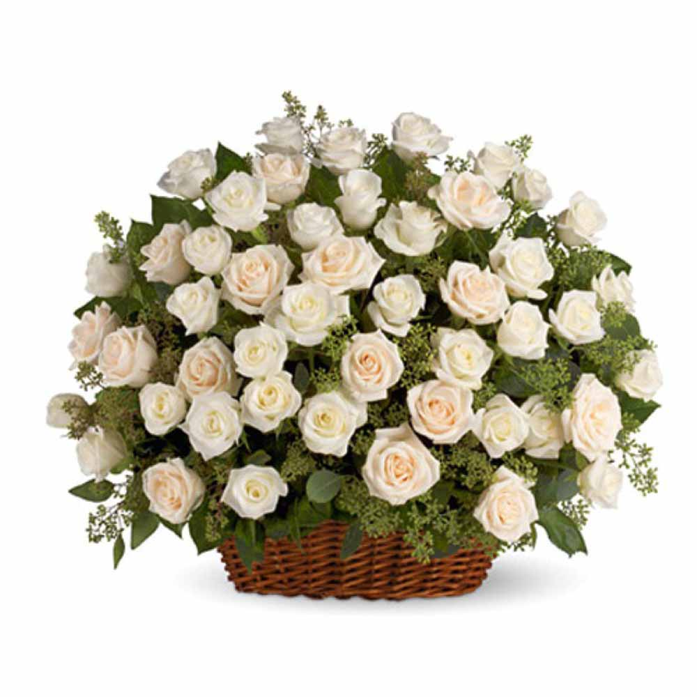 Valentine Flowers-Snow of Love with White Roses