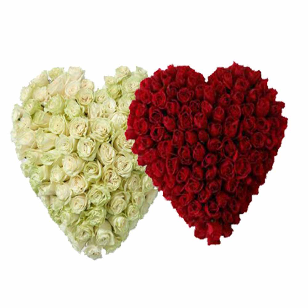 Valentine Flowers-Togetherness with Heart Shape Roses Arrangement