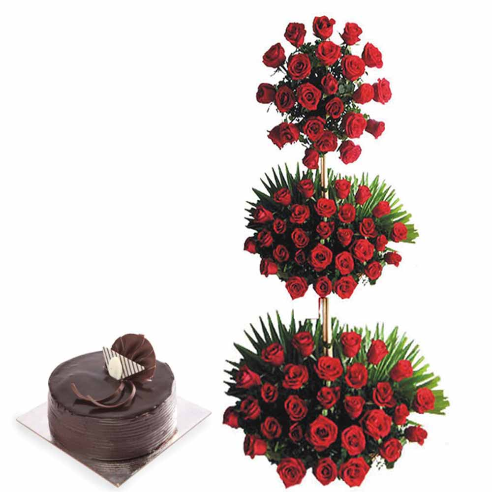 Valentine Flowers-100 Roses Tower and Chocolate Cake