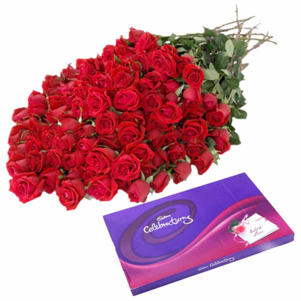 Valentine Red Roses with Chocolates