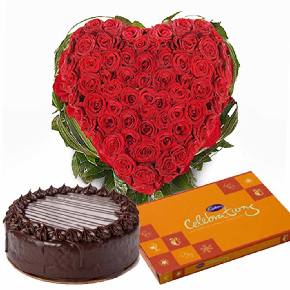 Valentine Flowers-Cake and Red Roses Valentines Hampers