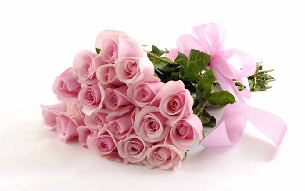 Valentine Flowers-Blushing Pink Roses with Love