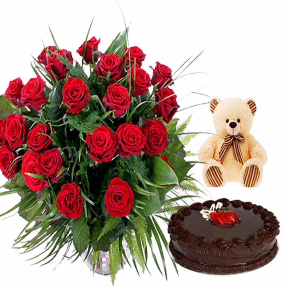 Valentine Flowers-Love Treat Combo