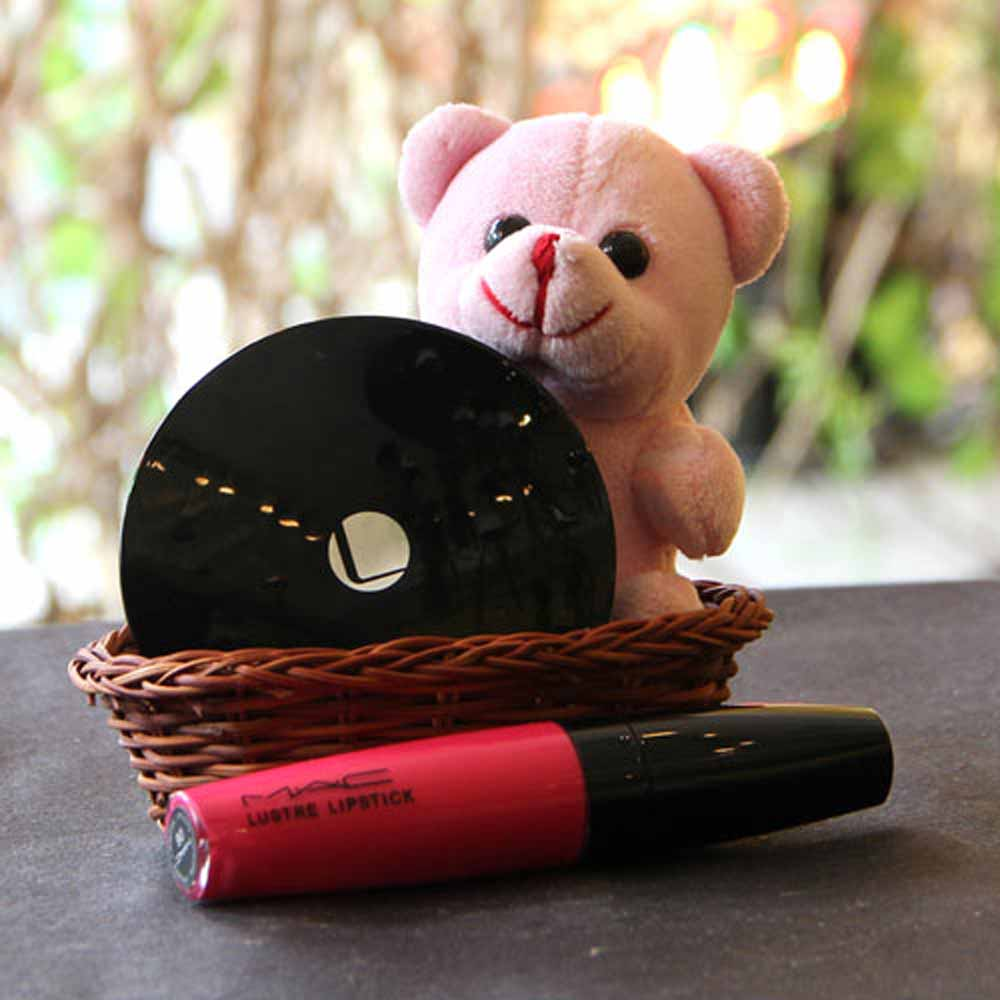 Valentine Hampers-Cosmetics Basket with Teddy