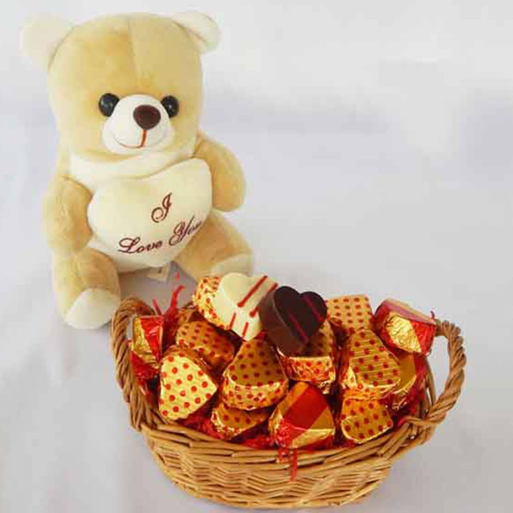 Chocolates-Teddy Bear Valentine Chocolate Basket