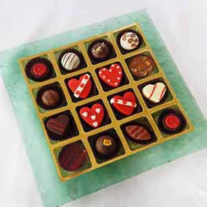Chocolates-Designer Platter with Valentine's Day Marzipan Joy