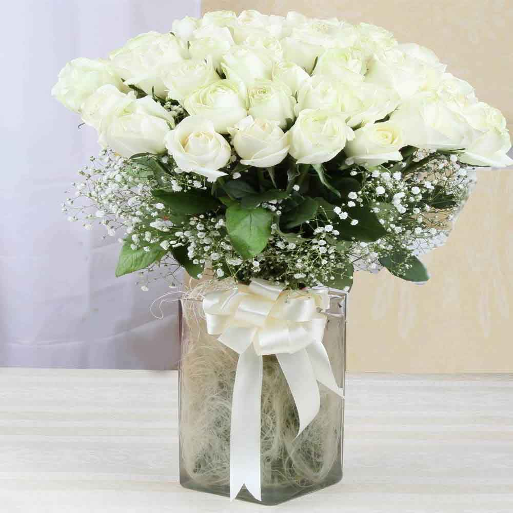 Fresh Flowers-Vase of White Roses