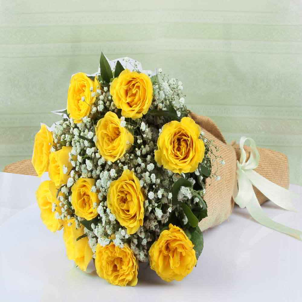 Fresh Flowers-One Dozen Yellow Roses Bouquet