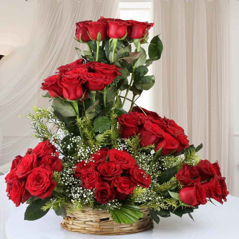 Fresh Flowers-Designer Arrangement of Fifty Red Roses in Basket